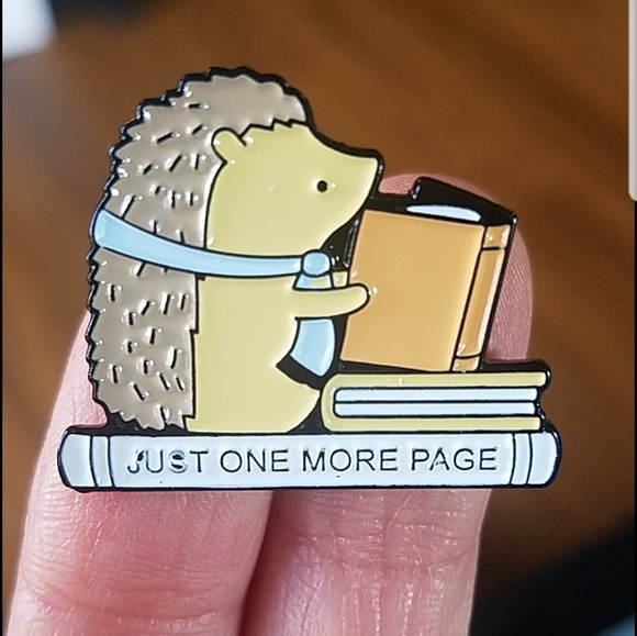 *2 for $13* Book Lover Hedgehog One More Page Pin